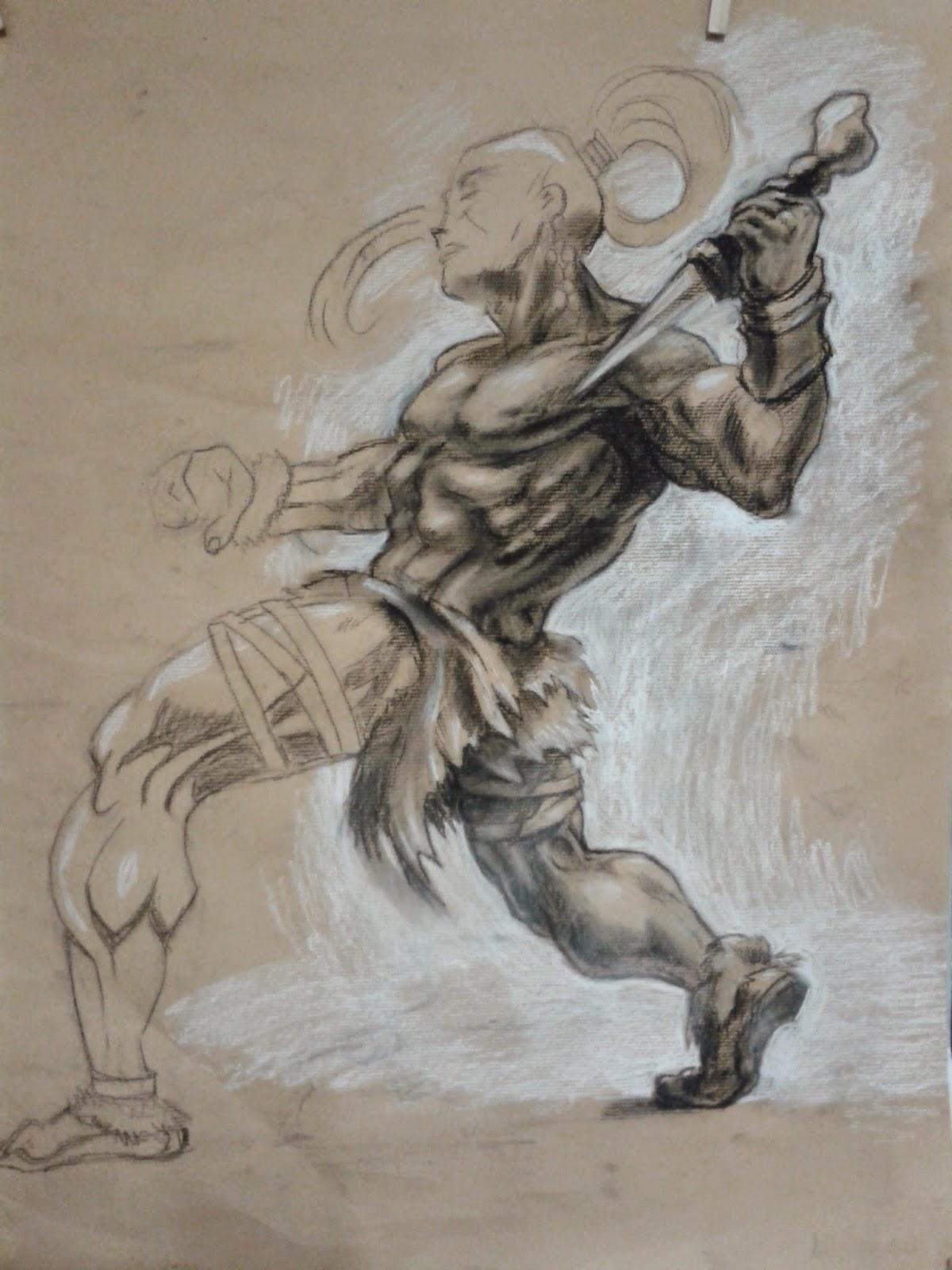 warrior tekenen, krijger tekenen, character design, figuur tekenen, spieren tekenen, character, tekenles, dynamische symmetrie, anatomie, Christopher Hart, spierbundels, tekenles, schaduwwerking, schaduwen tekenen, tekening,