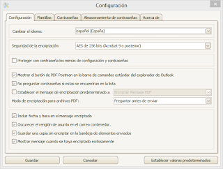 A screen image of PDF Postman settings menu shown in Spanish language.