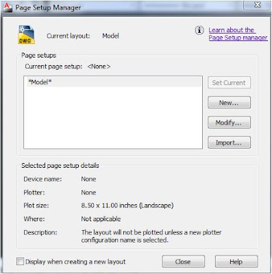 Page setup manager