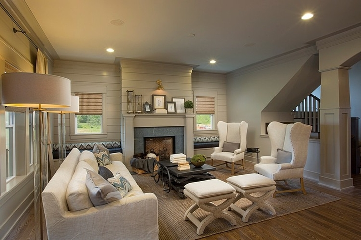 Living room in Craftsman style home in Dublin, Ohio