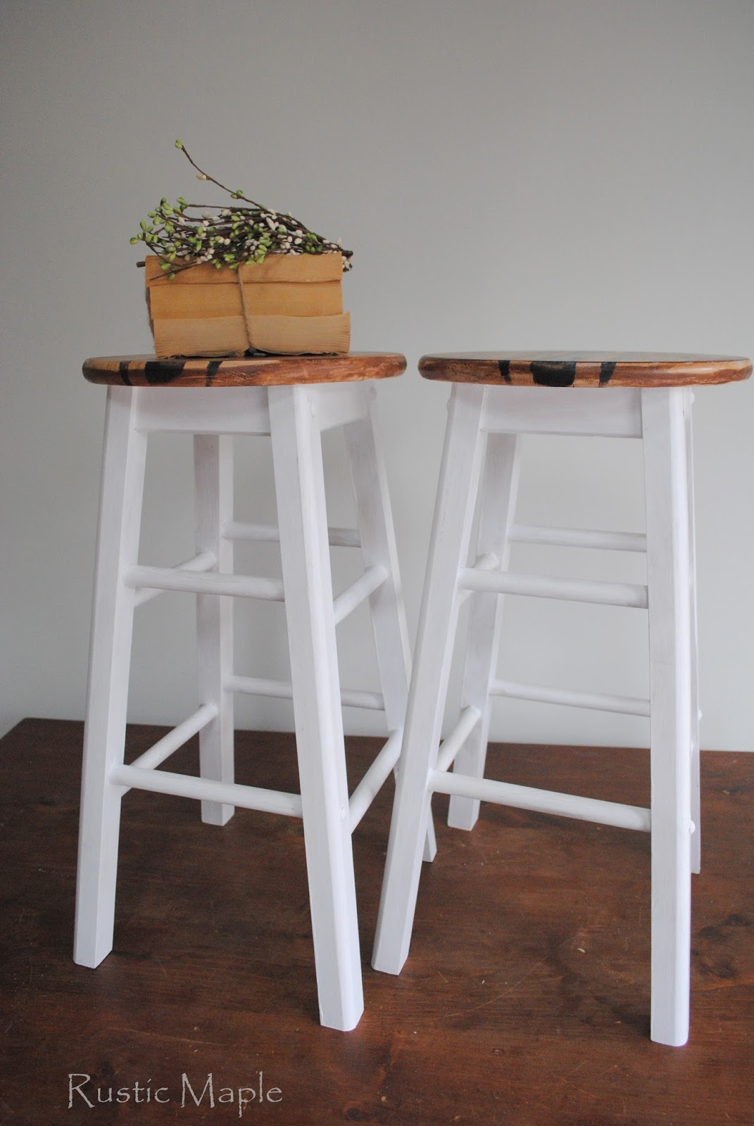 Wood + White Barstools Makeover & Rustic Maple: Wood + White Barstools Makeover islam-shia.org