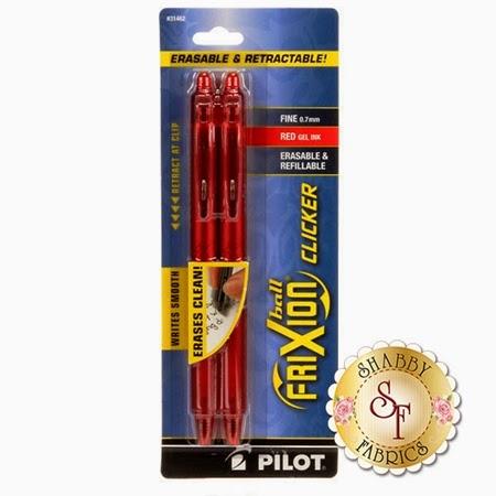 Frixion Clicker Pen 2 Pack- Red   Shabby Fabrics