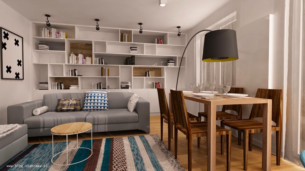 wnętrze skandynawskie, pokój dzienny, regał, biblioteczka wyspa kuchenna, lampa loft, płytki mozaika
