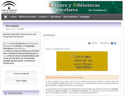 http://www.juntadeandalucia.es/educacion/webportal/web/lecturas-y-bibliotecas-escolares/novedades1/-/contenidos/detalle/convocado-el-xiv-certamen-andaluz-de-escritores-noveles-1