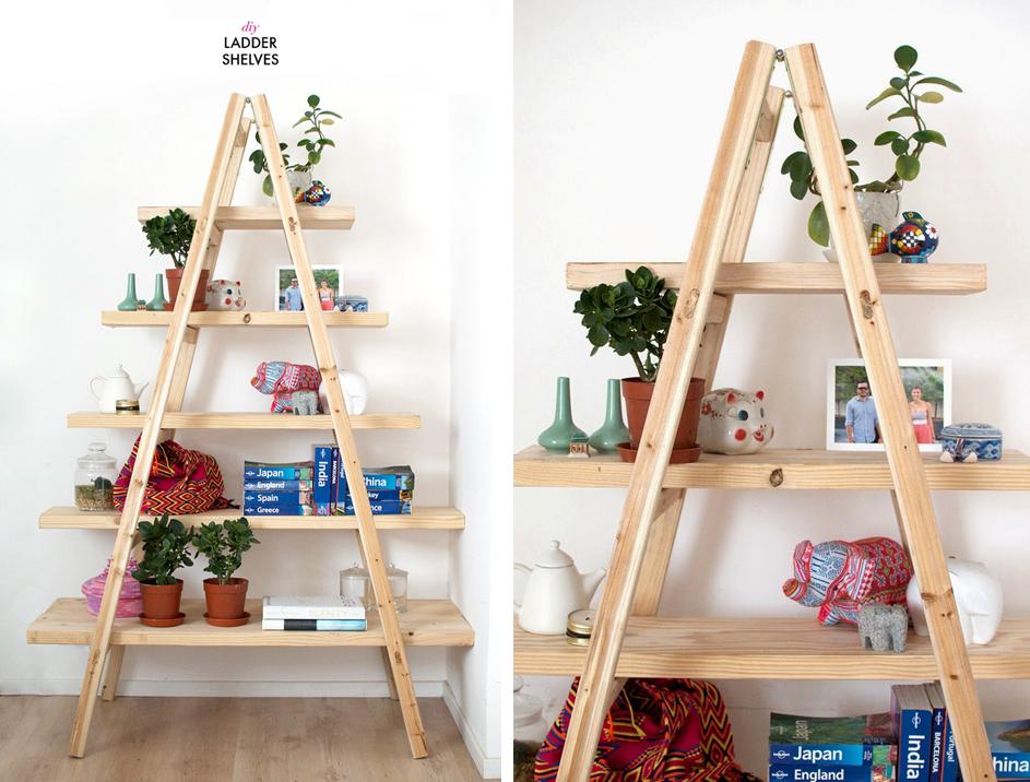 Decoraci n f cil 3 ideas para reutilizar escaleras de - Estanterias en escalera ...