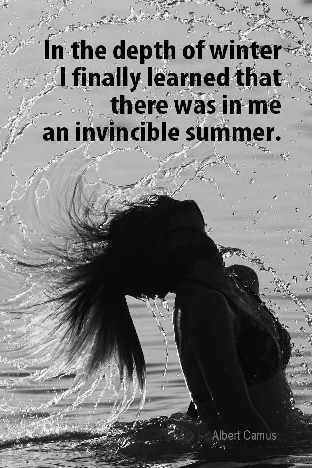 visual quote - image quotation for INSPIRATION - In the depth of winter I finally learned that there was in me an invincible summer. - Albert Camus