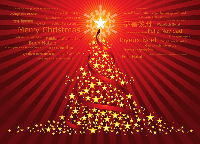 graphic with red background, merry Christmas in many languages, and a tree decorated with gold balls and trimmings