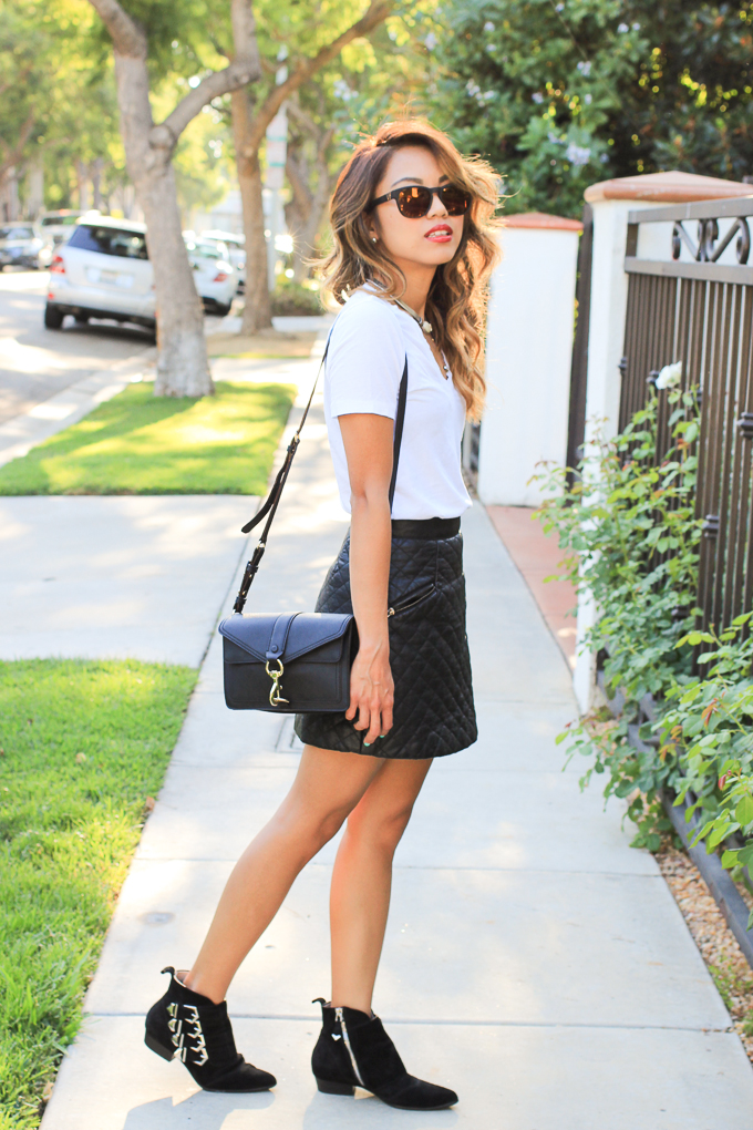 Wildfox Classic Fox 2 sunglasses, Madewell V-neck shirt, Rebecca Minkoff Hudson Moto, Topshop quilted skirt