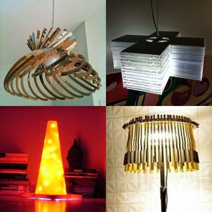 EL MUNDO DEL RECICLAJE: Lámparas con material reciclado
