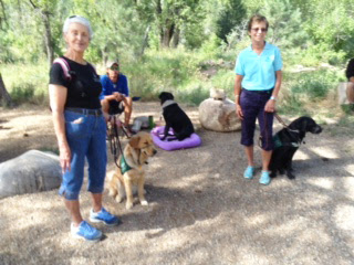 Two Southwest Brighteyes puppy raisers and their guide dog puppies pose with Trevor and Tennille (black Lab) in the wilderness.