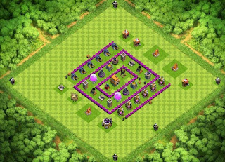 Gambar Trophy War Base TH6 COC Terkuat Dengan Air Sweeper - Clash Of Clans