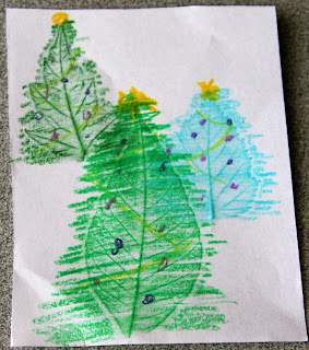 crayon art: leaf rubbings