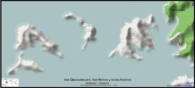 Mapa de relieve de la Isla Chacachacare, Isla Monos y la Isla Huevos  (TRINIDAD Y TOBAGO)