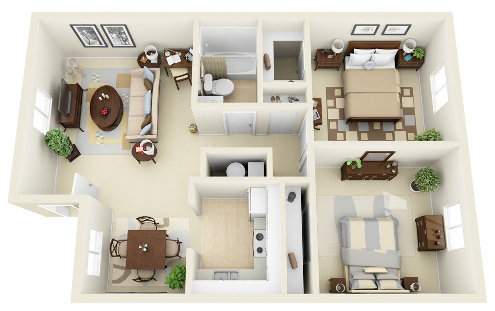 50 3d floor plans lay out designs for 2 bedroom house or Sample 2 bedroom house plans