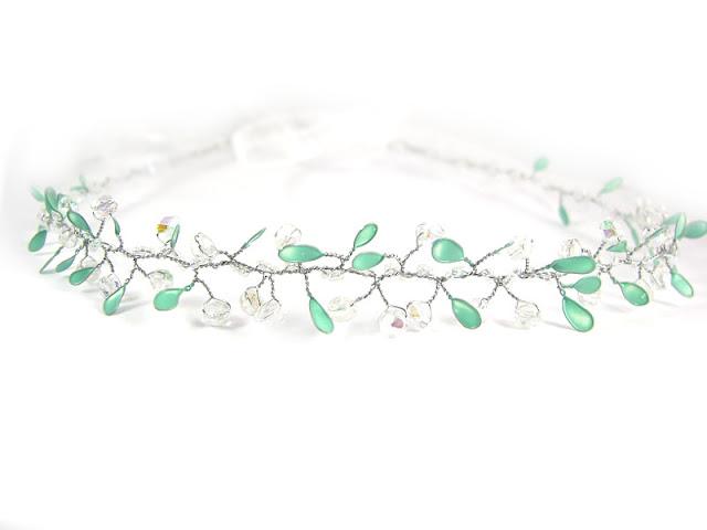 Opaska ślubna z kryształkami, kolekcja Airy.
