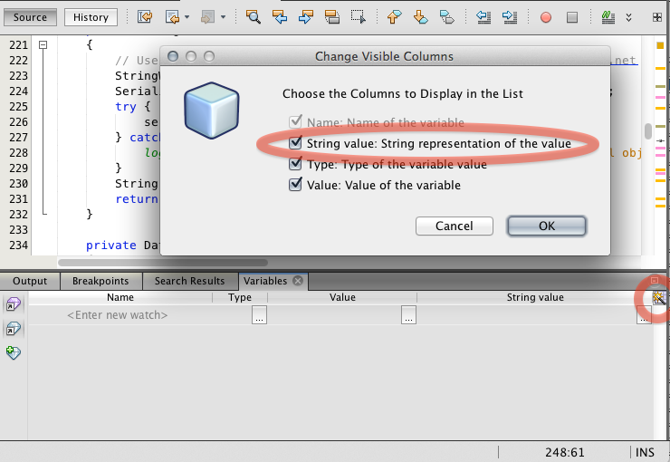 "Screen shot of ""Change Visible Columns"" dialog box"