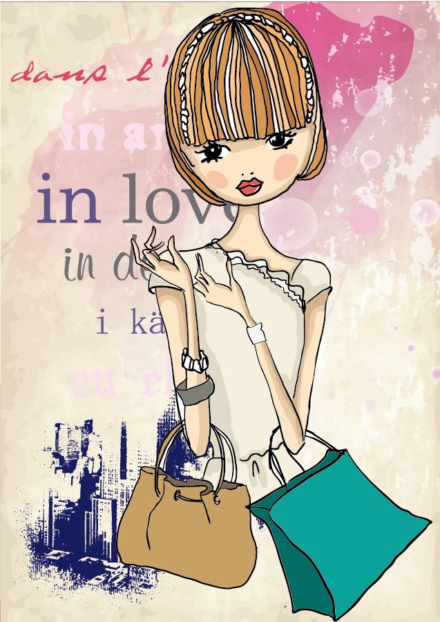 ショッピングを楽しむお洒落な女性 Fashion shopping girl illustration イラスト素材