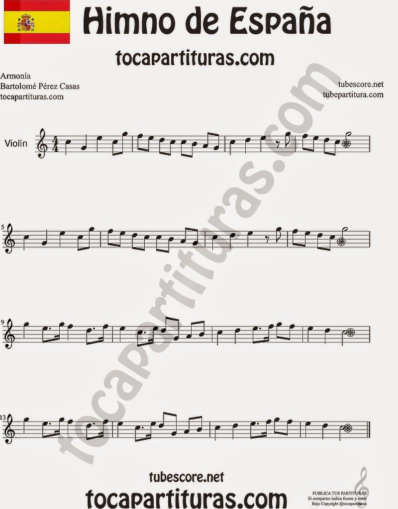 Himno Nacional Español Partitura de Violín Sheet Music for Violin Music Scores Music Scores