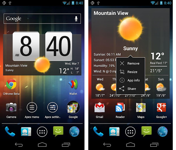 Install Apex Launcher for Android 4.0 ICS from Google Play Store