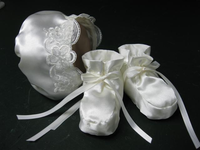 Christening Bonnet and Booties, Grandmother's Wedding Dress