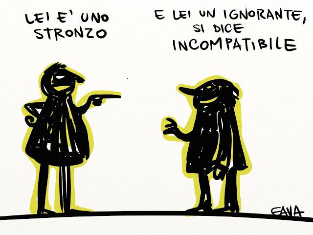 gava gavavenezia satira vignette ridere caricatura illustrazioni berlusconi pd salvacondotto incompatibile ineleggibile