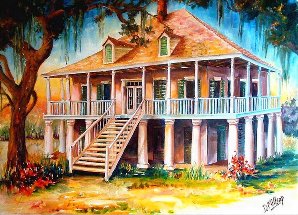 Cuadros pinturas oleos pinturas de paisajes arte en - Paisajes de casas ...