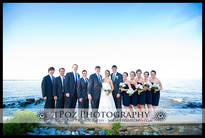 annapolis waterfront wedding party photo