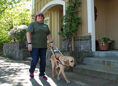 Laura Ann Grymes and guide dog Dyson walk down the street