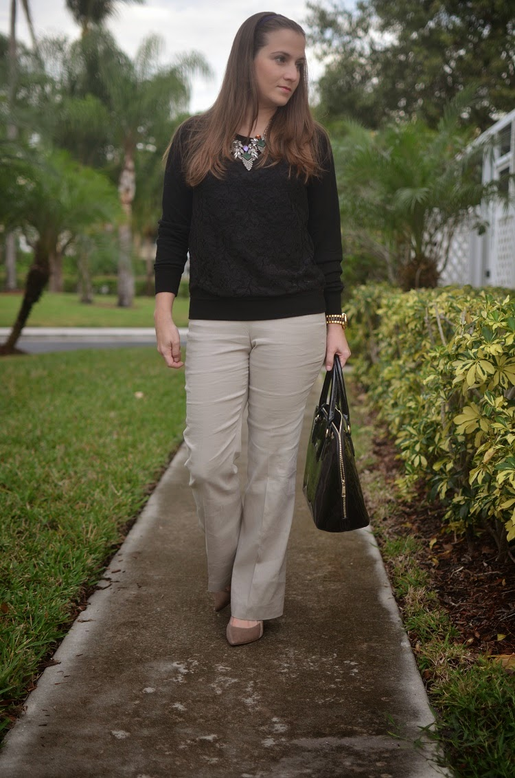 Tan pants - Black sweater - patent bag - Emma & Sophia
