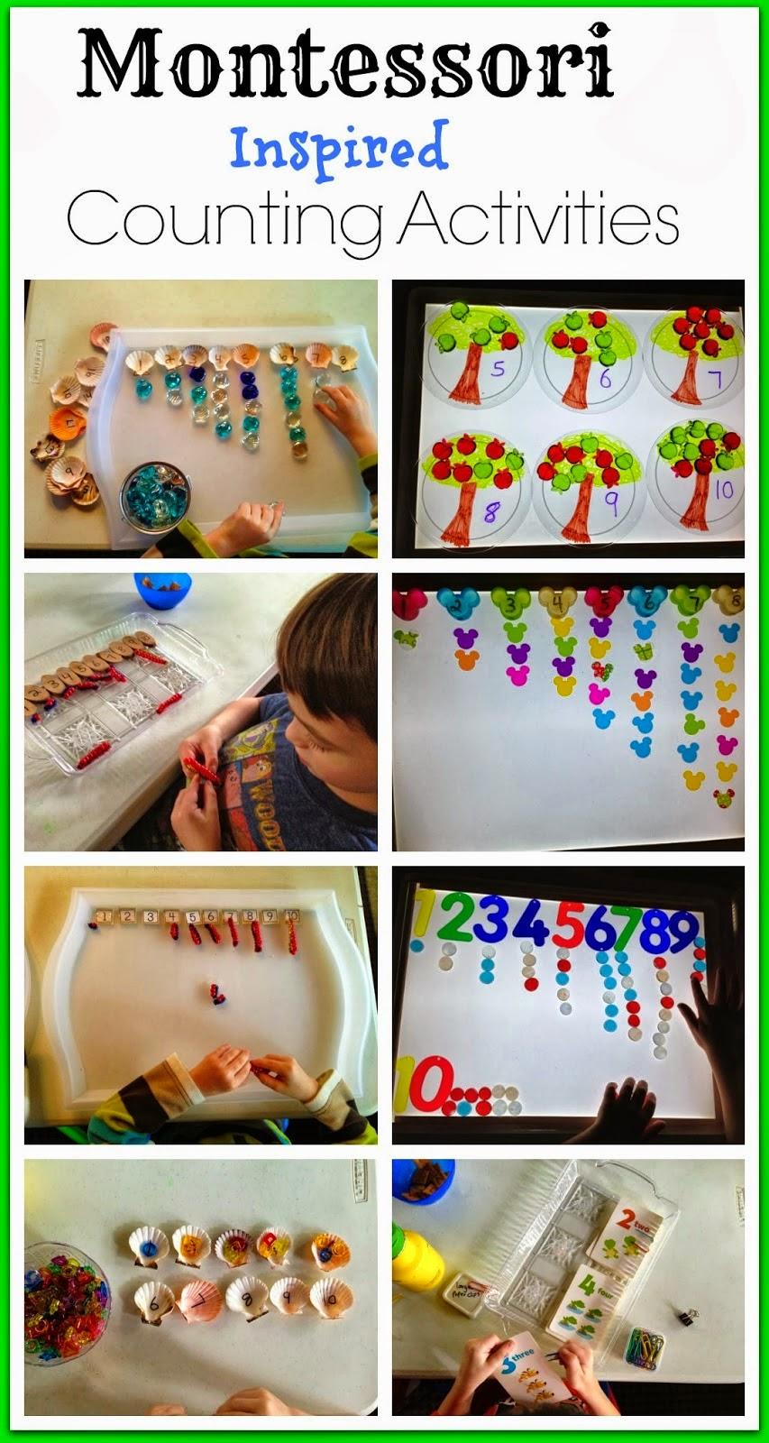 Montessori inspired counting activities