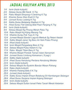 Jadual Ustaz Azhar Bulan APRIL13