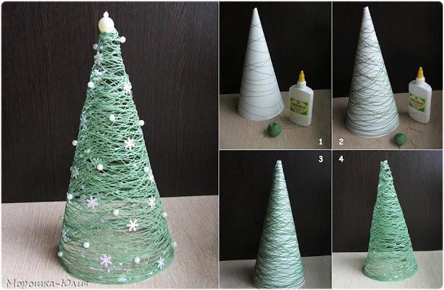 DIY árbol de Navidad con hilo