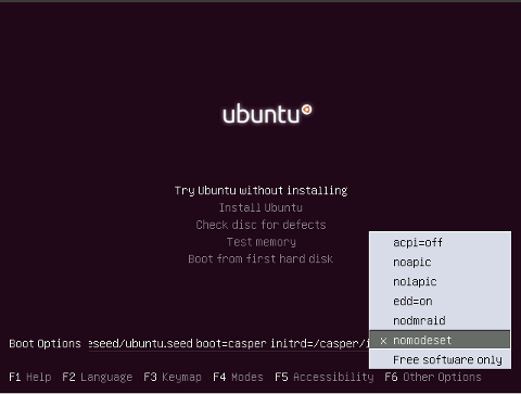 Ubuntu: Install with video drivers disabled