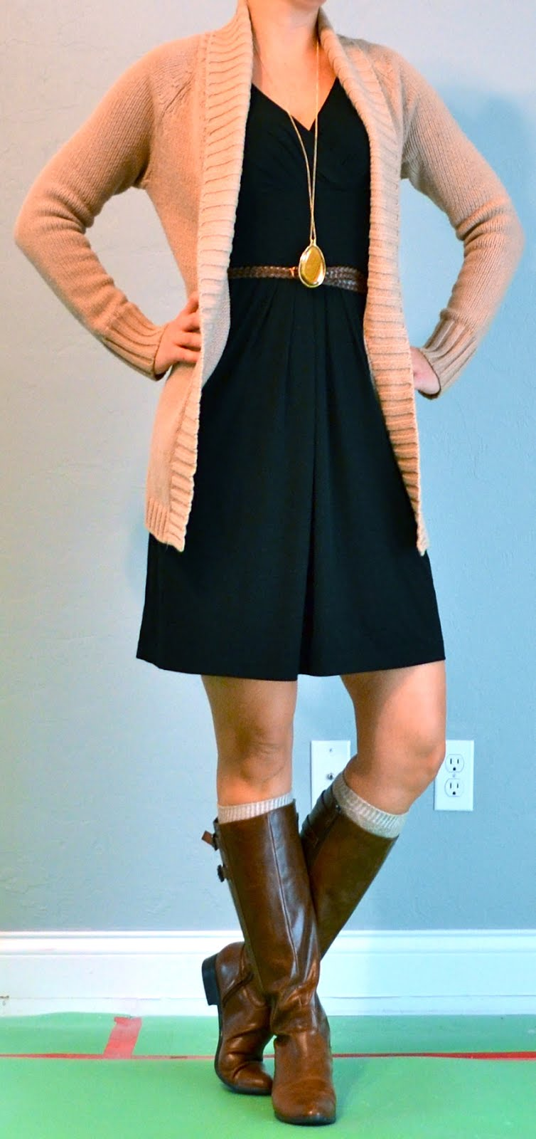 Outfit post black dress knit cardigan boots | Outfit Posts