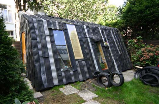 A garden shed office cabin made from old for How to use old tires in a garden