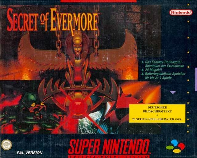 Box art of the game Secret of Evermore. The game has lots of mazes.