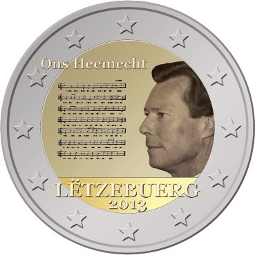 2 Euro Commemorative Coins 2013, National Anthem of the Grad-Duchy of Luxembourg