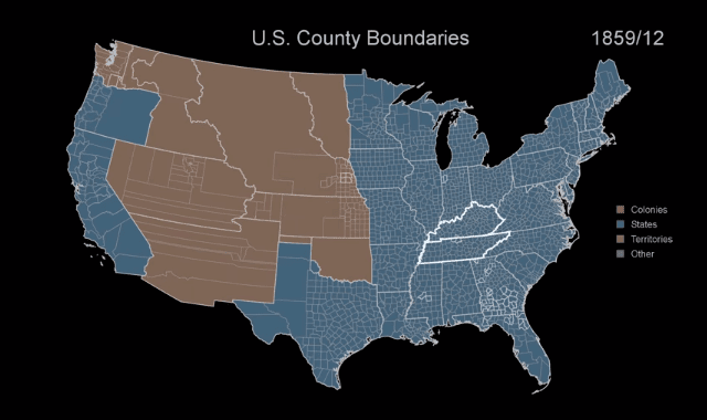 A Time Lapse of Changing USA Boundaries, 1629-2000