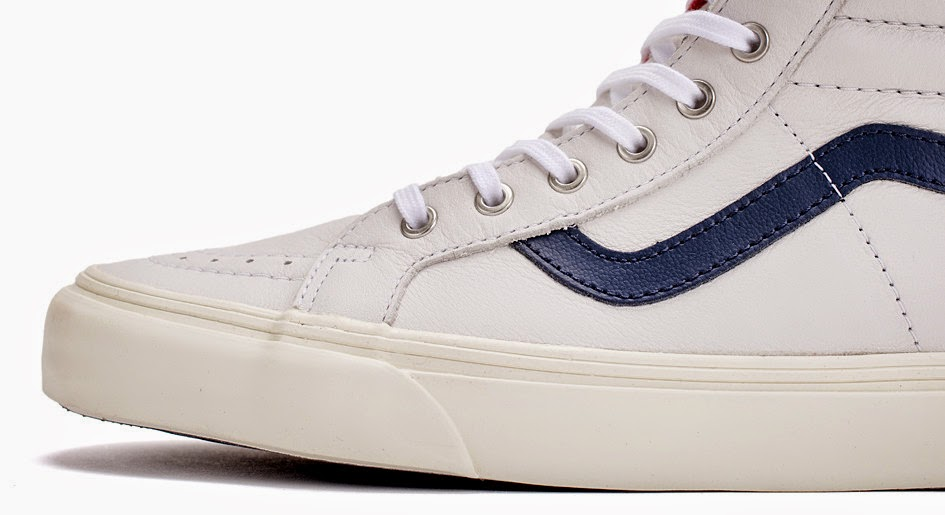 vans sk8 hi white with blue stripe