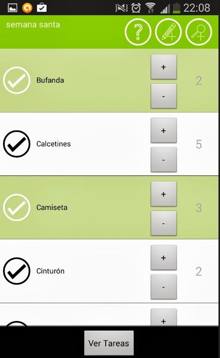 lista de viajes App