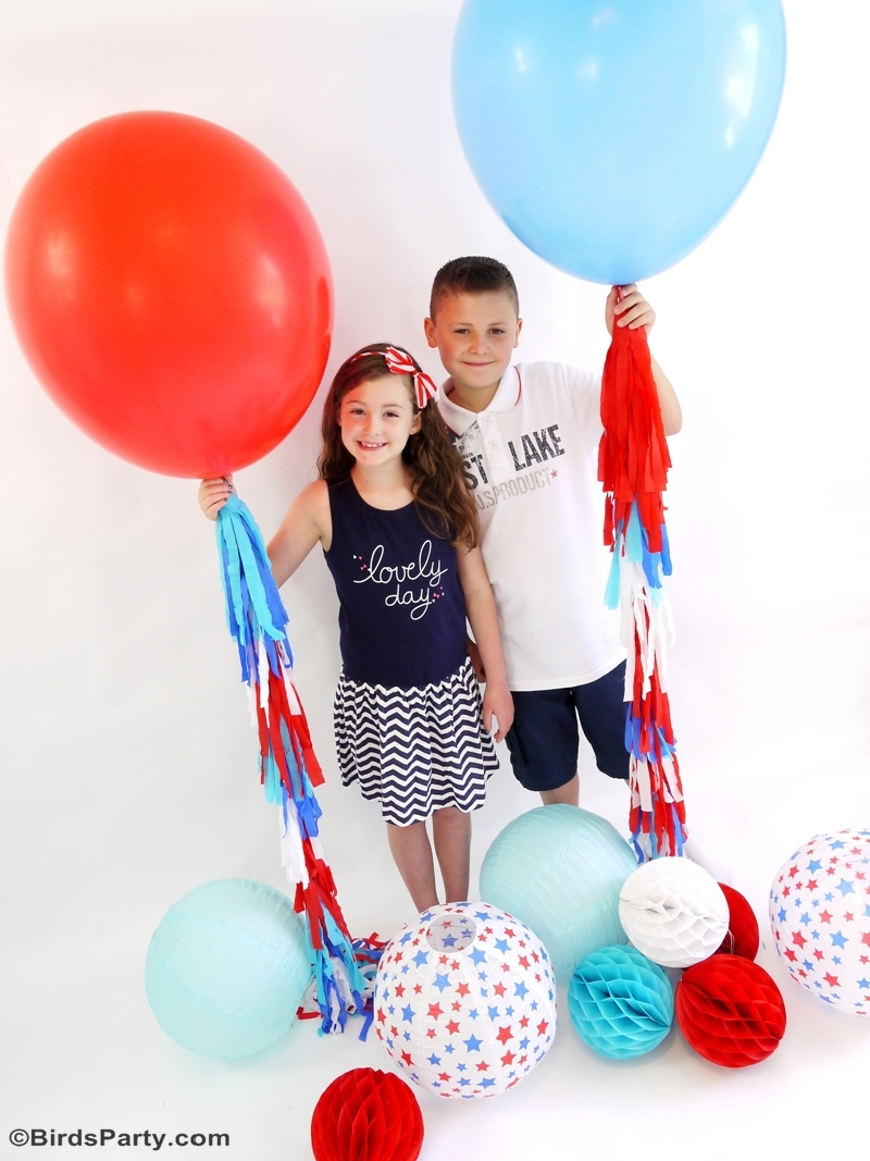 DIY 4th of July Party Photo Booth Ideas - Balloon tassels tutorial
