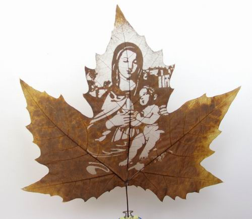 Leaf Carving Artwork - Cool Creativity Seen On www.coolpicturegallery.us