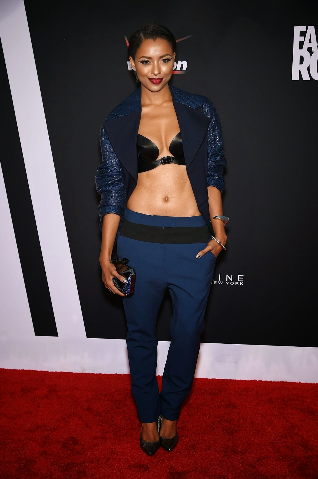Kat Graham exposes her Zana Bayne leather bra at the 2014 Fashion Rocks
