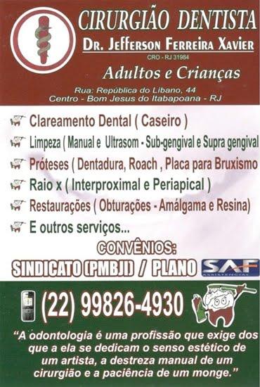 Dr. Jefferson Ferreira Xavier - CIRURGIÃO DENTISTA