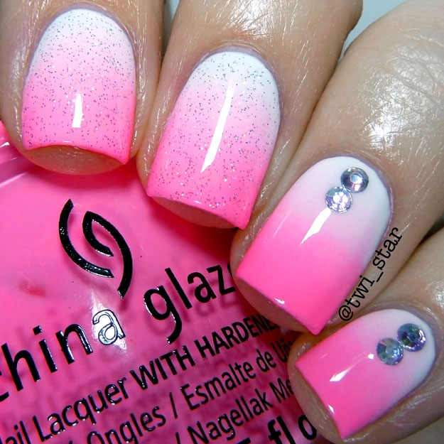 Twi Star Nail Art Blog Pink Gradient Glitter Nails Using China