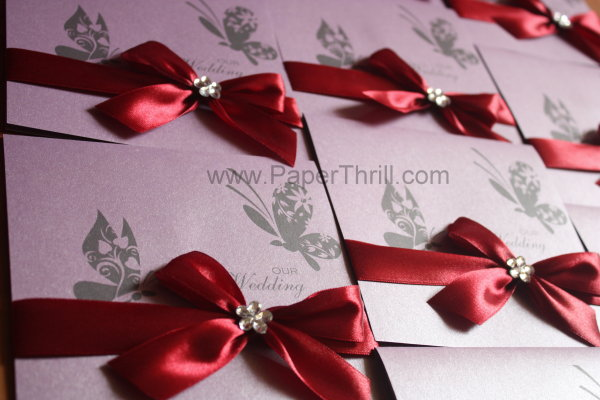 luxurious purple butterfly wedding invitation cards