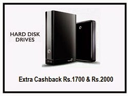 External Hdd Rs 1700 Extra Cashback On 1 Tb Hdd Rs 2000 Extra