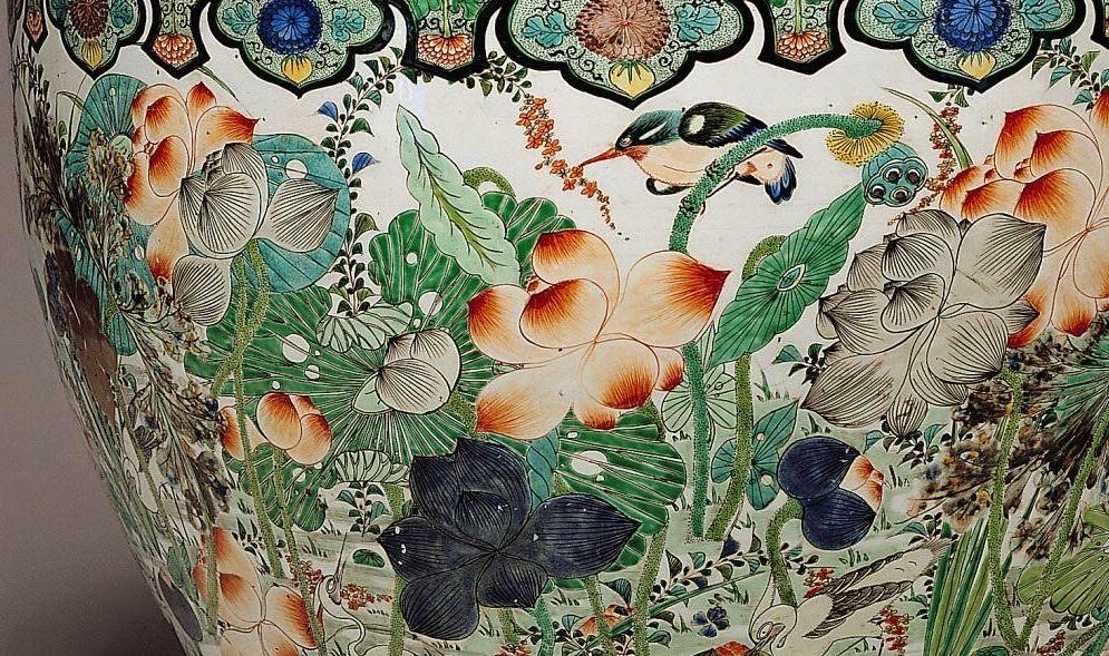 "<img src=""Kangxi Porcelain Fishbowl detail .jpg"" alt="" Famille Verte on Biscuit"">"