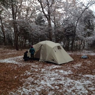 winter camping with the kids