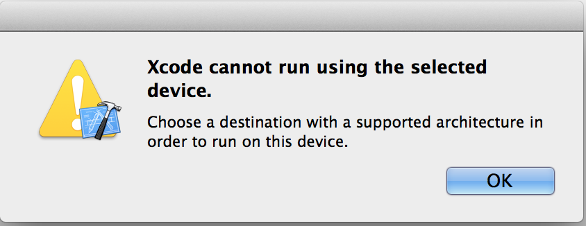ios xcode cannot run using the selected device choose a destination with a supported. Black Bedroom Furniture Sets. Home Design Ideas